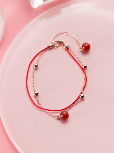 Sterling silver double layer beads red agate sweet red thread bracelet