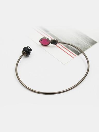 Retro Open Design Black Rose Glass Bangle