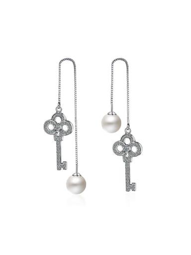 Fashion Cubic Zirconias Key Imitation Pearl Line Earrings