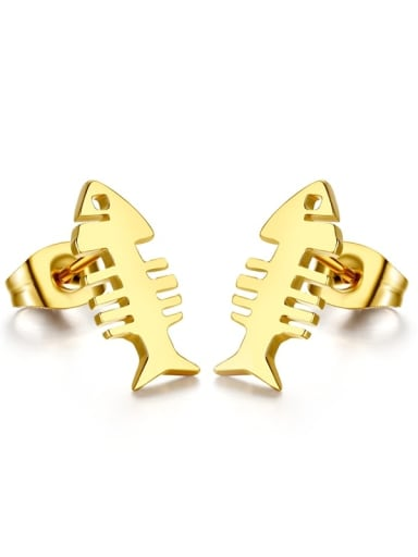 Lovely Gold Plated Fish Bone Shaped Drop Earrings