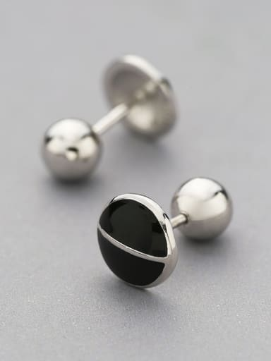 Simple Tiny Black Round 925 Silver Stud Earrings