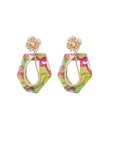 Alloy With Rose Gold Plated Fashion Geometric Flower Drop Earrings