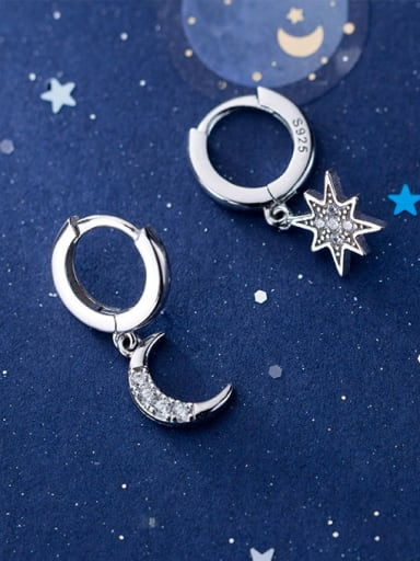 925 Sterling Silver With Silver Plated Simplistic Asymmetric moon star Clip On Earrings