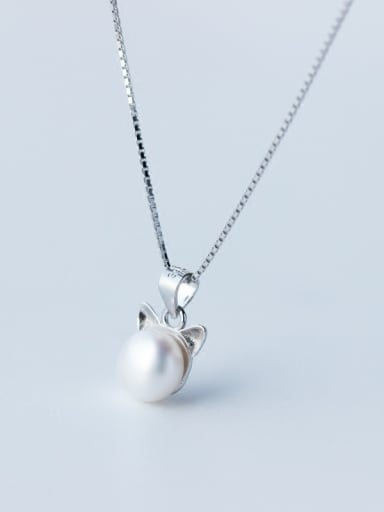 S925 Silver Natural Freshwater Pearl Lovely Cat Necklace