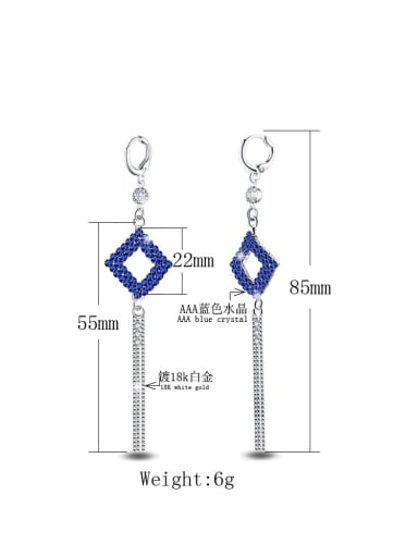 New Designed White Gold Plated Tassel Exaggerate Drop Earrings