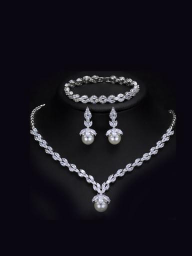 Shining Zircons Shell Pearls Three Pieces Jewelry Set