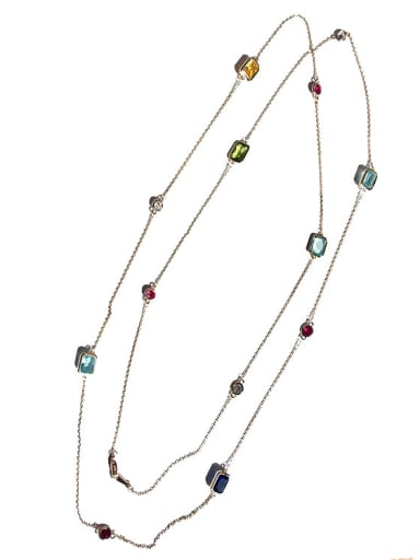 Long Double Layer Colorful Stones Women Necklace