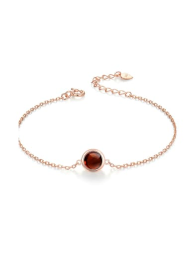 Natural Round Shaped Garnet Silver Bracelet