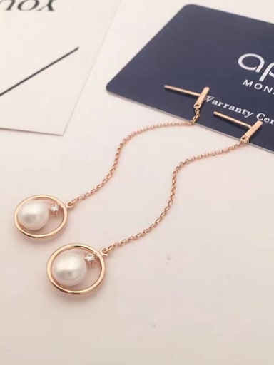Freshwater Pearl Round Drop threader earring