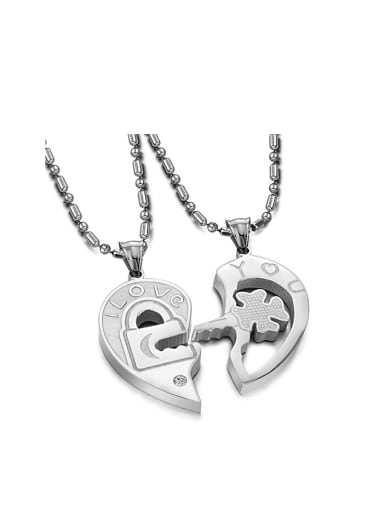 Fashion Heart shaped Rhinestone Lovers Necklace