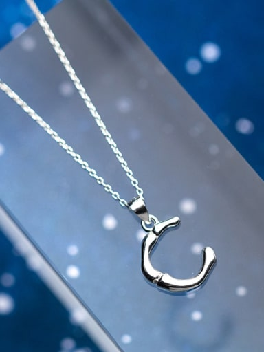 Sterling silver personality C-shaped necklace