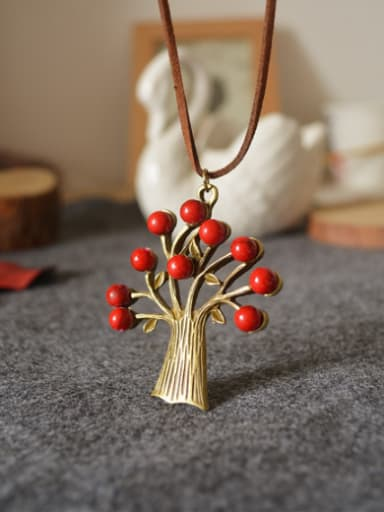 Women Tree Red Beads Necklace