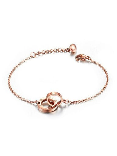 Fashion Double Rings Rose Gold Plated Copper Bracelet