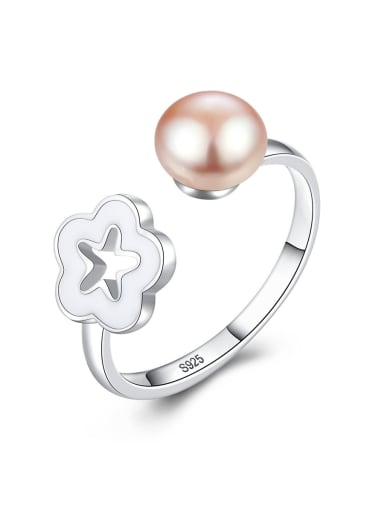 925 Sterling Silver With Artificial Pearl Simplistic Flower Free Size  Rings