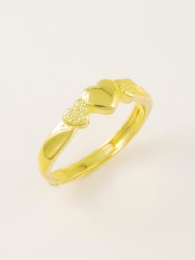 All-match Open Design Heart Shaped Gold Plated Copper Ring