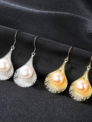 Sterling silver 9-9.5mm natural pearl 18K gold plated earrings
