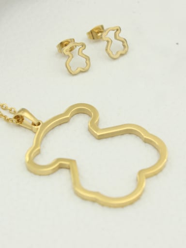 Hollow Bear Pendant Earrings Two Pieces Set