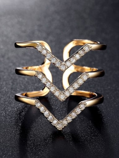 Copper With Cubic Zirconia  Hip Hop Irregular Stacking Free size Rings