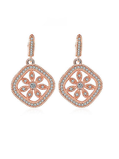 Exquisite Rose Gold Plated Flower Shaped Stud Earrings