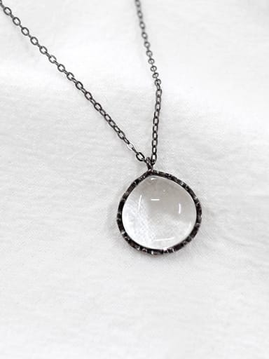 Fashion Clear White Crystal Gun Color Plated Silver Necklace