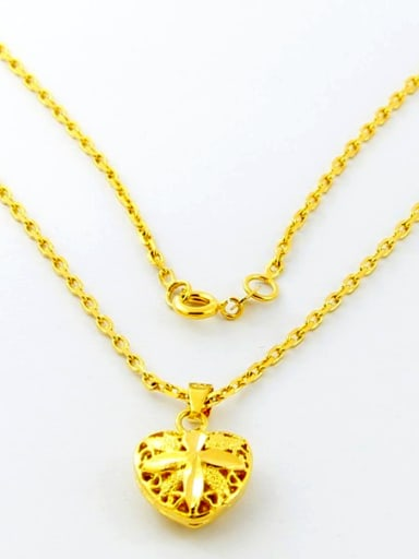 All-match 24K Gold Plated Heart Shaped Copper Necklace