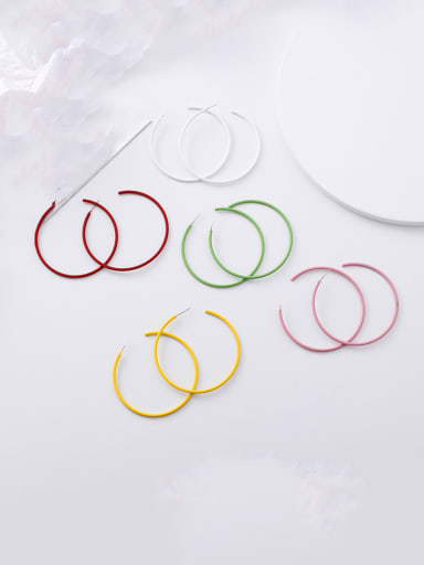 Alloy With  Enamel  Trendy Geometric Hoop Earrings