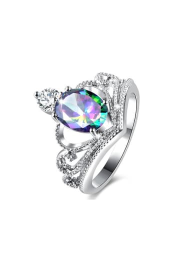Women Colorful Crown Shaped Glass Stone Ring