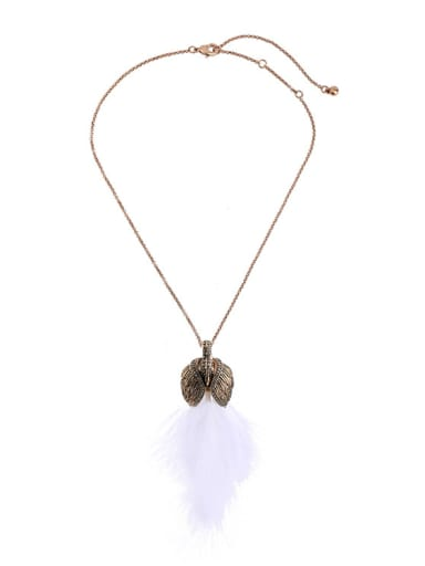Swan Feather Pendant Sweater Necklace