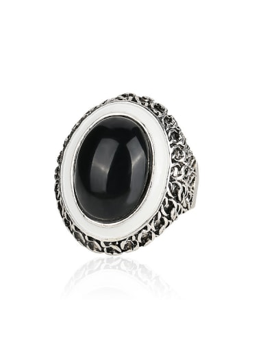 Retro style Antique Silver Plated Black Resin stone Alloy Ring