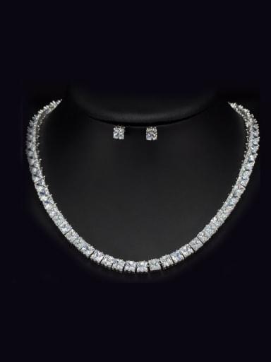 AAA Zircons Noble Wedding Two Pieces Jewelry Set