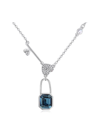 Personalized Lock Key Pendant Swarovski Crystals Alloy Necklace