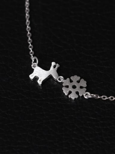 Christmas Snowflake Deer Clavicle Necklace