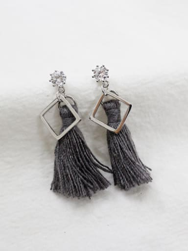 Fashion Grey Tassels Hollow Square Silver Stud Earrings