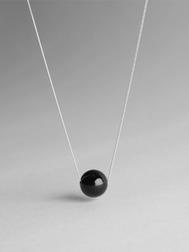 Sterling silver synthetic Black Agate Necklace