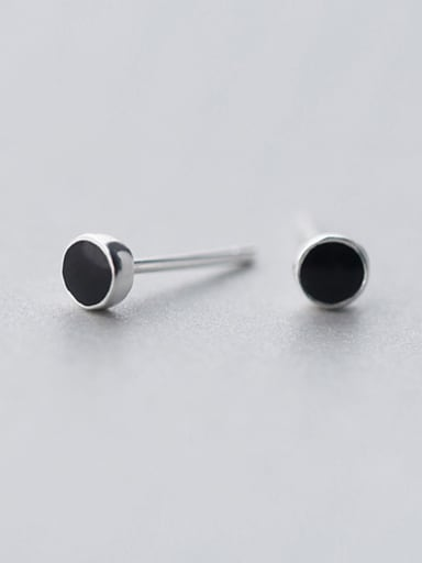 S925 Simple Round Black Classic Glue Stud cuff earring