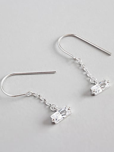 Sterling silver simple hand-stitched zircon earrings