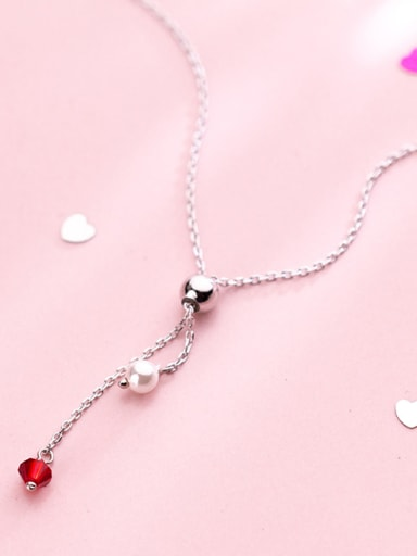 925 Sterling Silver With Platinum Plated Fashion Round Necklaces