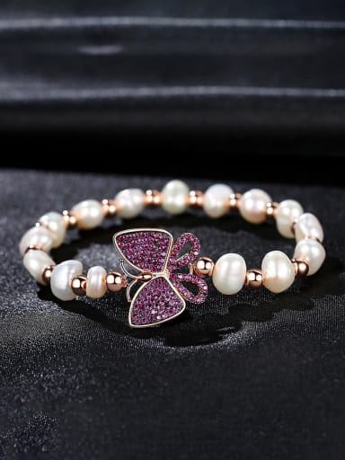 Copper With Gold Plated Fashion Butterfly Anniversary Bracelets
