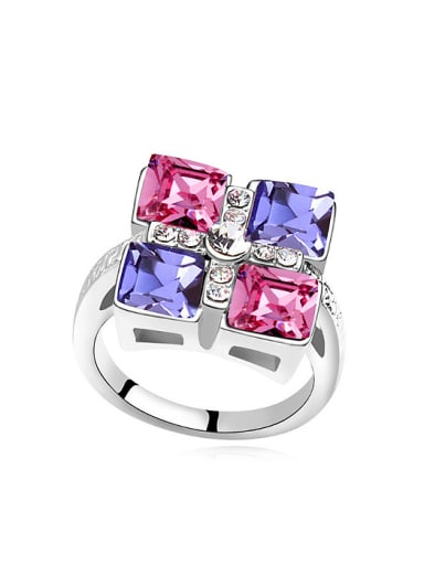 Exaggerated Square Swarovski Crystals Alloy Ring