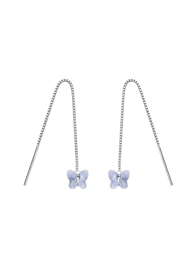 Simple Swarovski Crystal Butterfly Line Earrings