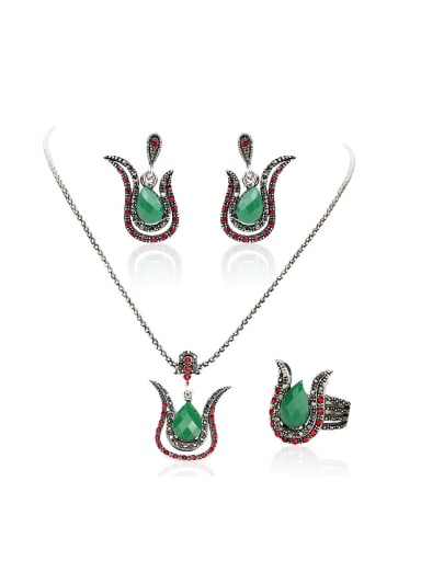 Retro style Green Resin stone Red Crystals Alloy Three Pieces Jewelry Set