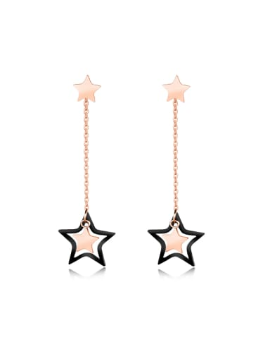 Fashion Star Rose Gold Plated Titanium Drop Earrings