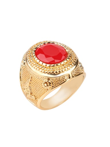 Classical Retro style Round Resin stone Gold Plated Alloy Ring