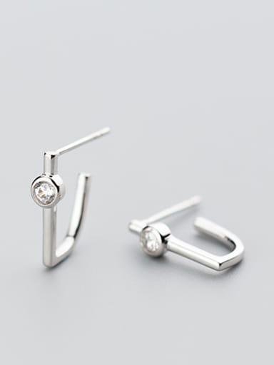 Temperament Letter U Shaped Zircon Clip Earrings