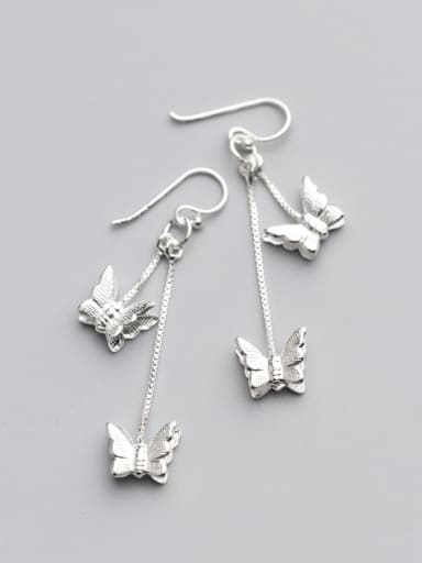 Temperament Butterfly Shaped S925 Silver Drop Earrings