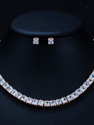 Luxurious square Zircon Earrings Necklace 2 piece jewelry set suit for party and wedding
