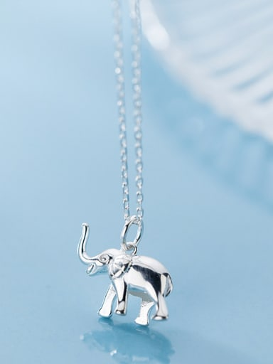 925 Sterling Silver With Silver Plated Cute Animal Elephant Necklaces