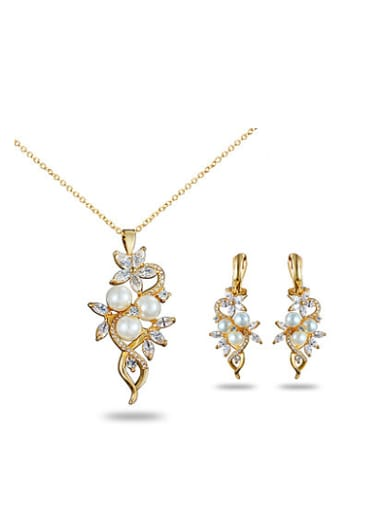 Trendy 18K Gold Plated Artificial Pearl Two Pieces Jewelry Set