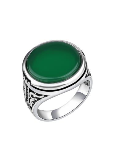 Personalized Antique Silver Plated Round Resin stone Alloy Ring