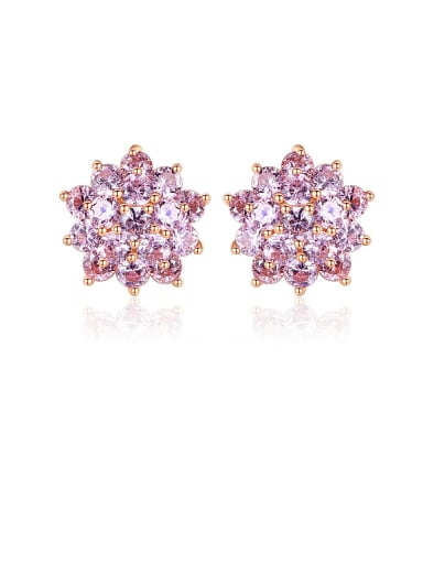 925 Sterling Silver With Rose Gold Plated Delicate Flower Stud Earrings